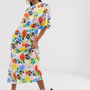 Asos assymetric sleeve midi dress floral